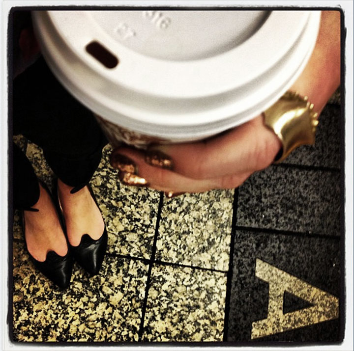 Waiting for the NYC Subway, Glitter Nails, Belle by Sigerson Morrison Flats, H&M pants, Quarry Ring