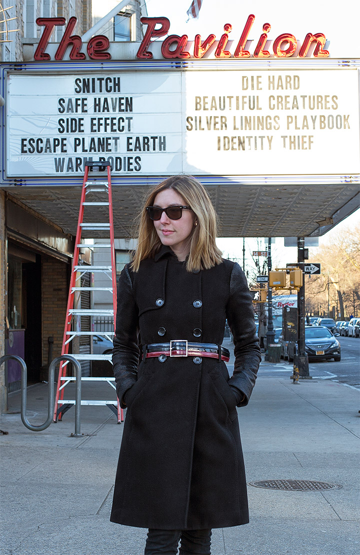 3 Ways To Update Your Winter Coat- Put a Belt On it . Women's Fashion, black peacoat with leather sleeves, vintage leather belt, ray ban wayfarers, the pavillion movie theatre park slope brooklyn
