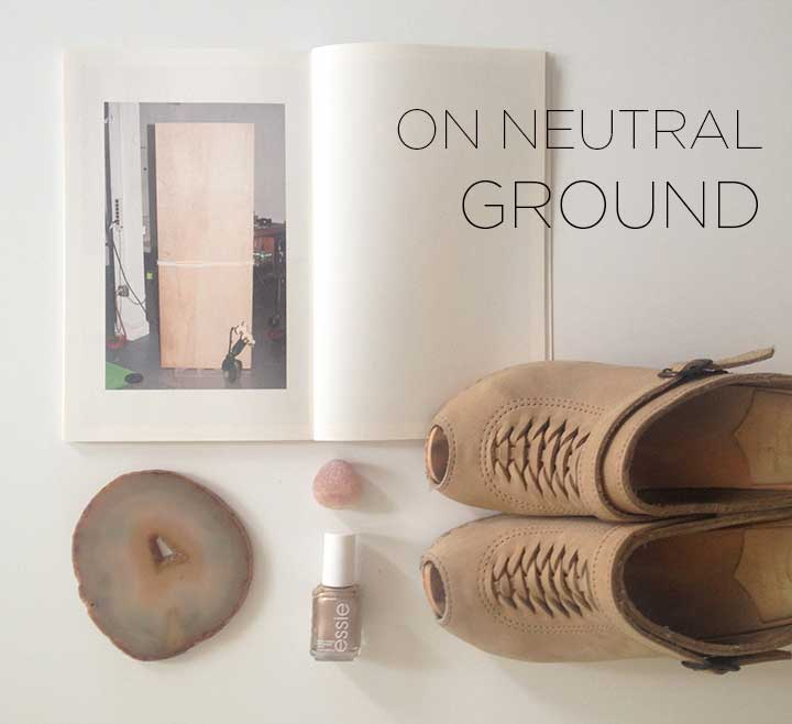 Spring 2013 On Neutral Ground- Creatures of Comfort, No.6 Clog Sandals, Essie Penny Talk, Agate Coaster, Pink Rock | DeSmitten