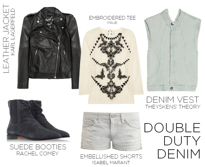 How to Wear a Denim Vest- Double Denim Women's Fashion Spring 2013 Theyskens' Theory Denim Vest, Maje Embroidered Tee, Karl Lagerfeld Black Leather Jacket, Isabel Marant Embellished Denim Short, Rachel Comey Flat Boots | DeSmitten