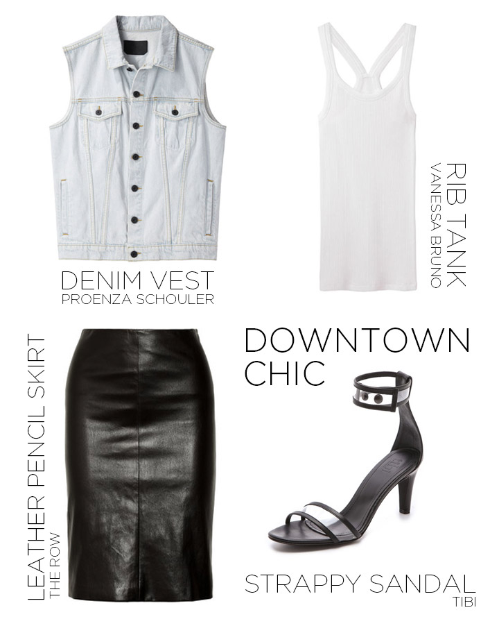 How to Wear a Denim Vest, Women's Fashion- Proenza Schouler Denim Vest, Vanessa Bruno White Rib Tank, The Row Black Leather Pencil Skirt, Tibi Black and Clear Sandal | DeSmitten