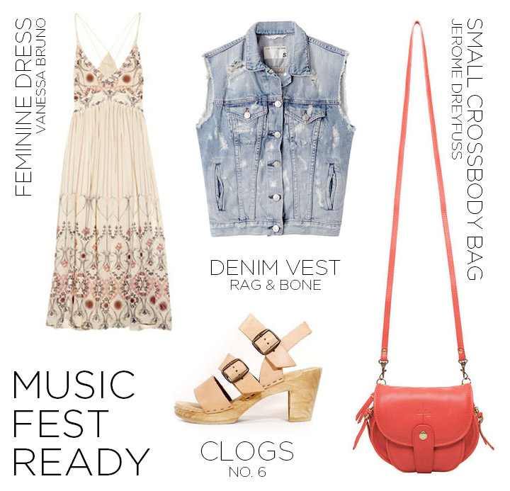 How to Wear a Denim Vest Women's Fashion Rag & Bone Distressed Denim Vest, Vanessa Bruno Printed Dress, No.6 Clogs, Jerome Dreyfuss Momo Bag, Music Festival Style | DeSmitten