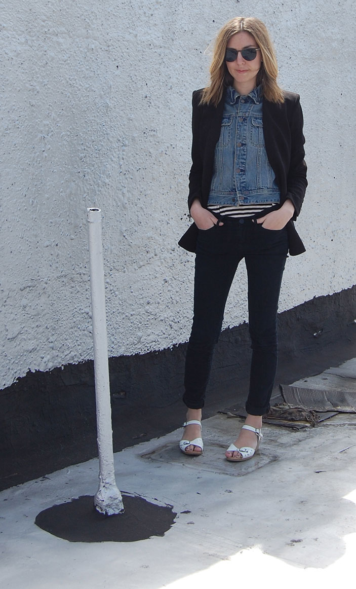 DIY Denim Vest worn with Helmut Lang Blazer, H&M striped tank, BDG Black Jeans, Vintage Sandals and Vintage Sunglasses | DeSmitten