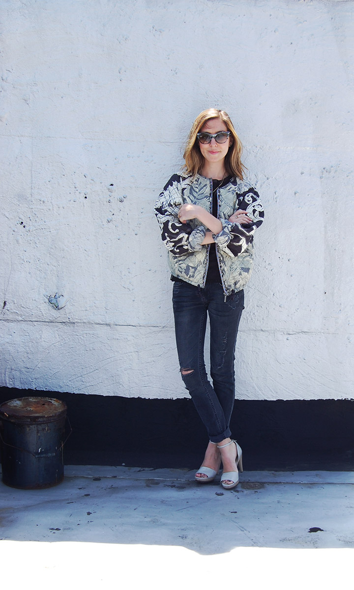 H&m Print Mix Quilted Bomber