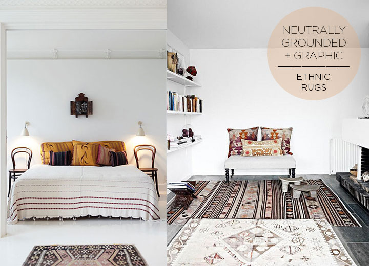 Neutral Grounded Graphic Ethnic Rugs | DeSmitten