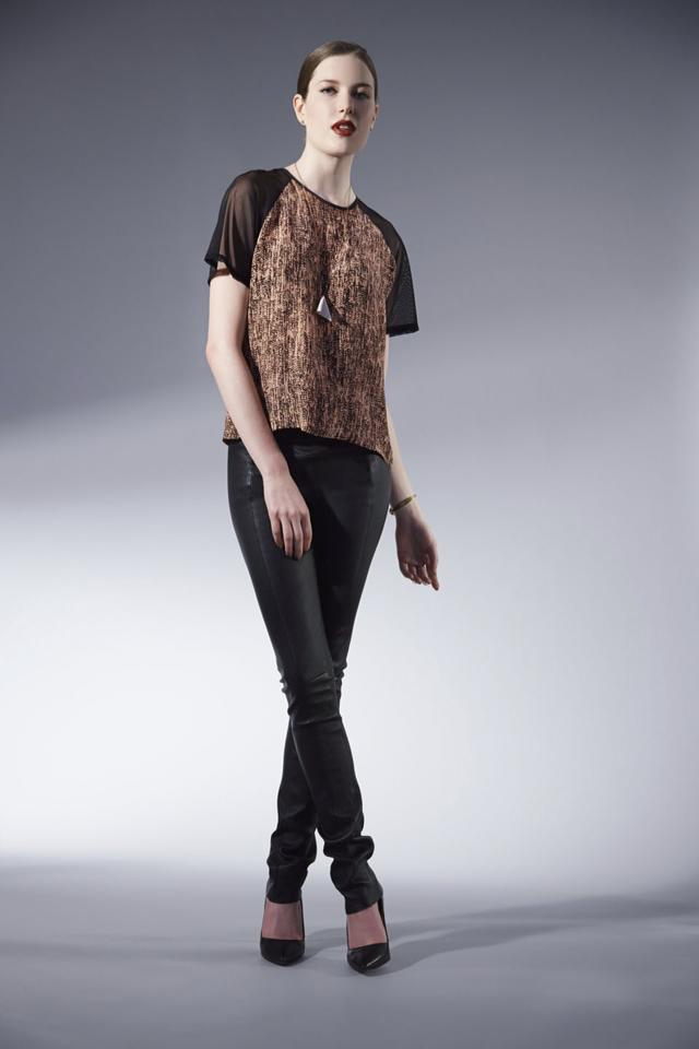 Serena da Conceicao Fall 2013 Women's Fashion. Black high waisted stretch leather leggings, Printed Raglan sleeve tee.  Hair by MaryAnna Fitzgerald Model Cristi Duncan Photography by Michael Casker Styling by Steven Tibaudo and Christina DeSmet Makeup by Mariko Hirano | DeSmitten
