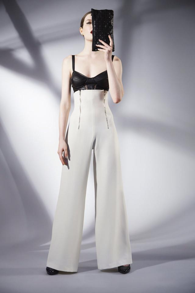 Serena da Conceicao Fall 2013 Women's Fashion. Black leather bustier, ivory crepe wide leg, high waisted pants, Hair by MaryAnna Fitzgerald Model Cristi Duncan Photography by Michael Casker Styling by Steven Tibaudo and Christina DeSmet Makeup by Mariko Hirano | DeSmitten
