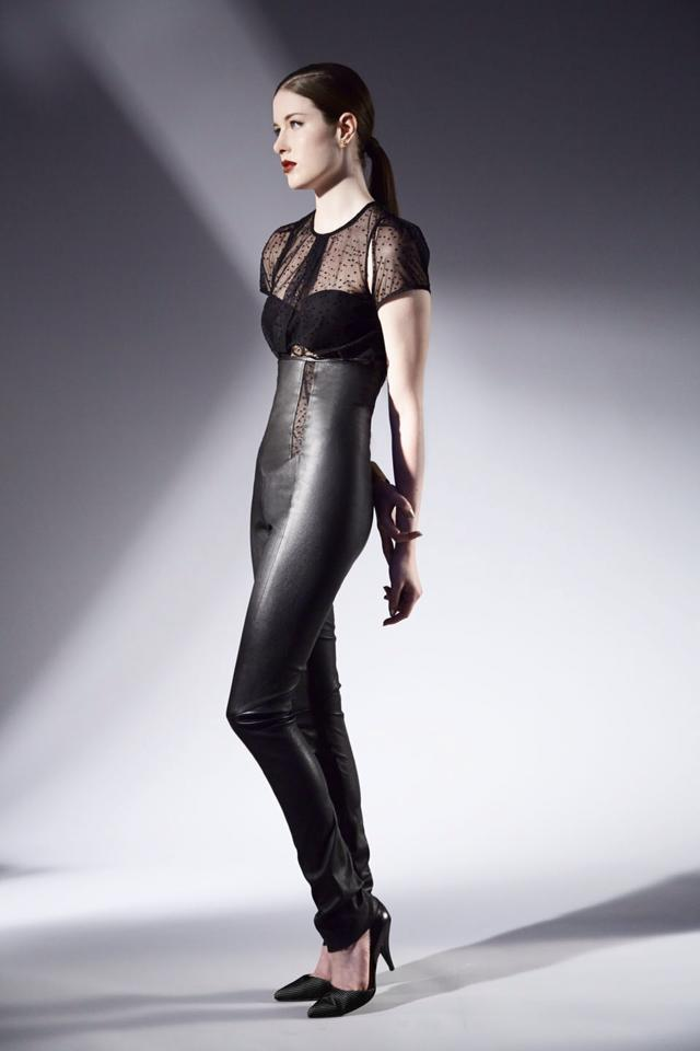 Serena da Conceicao Fall 2013 Women's Fashion. Black high waisted stretch leather leggings, Sheer Top Hair by MaryAnna Fitzgerald Model Cristi Duncan Photography by Michael Casker Styling by Steven Tibaudo and Christina DeSmet Makeup by Mariko Hirano | DeSmitten