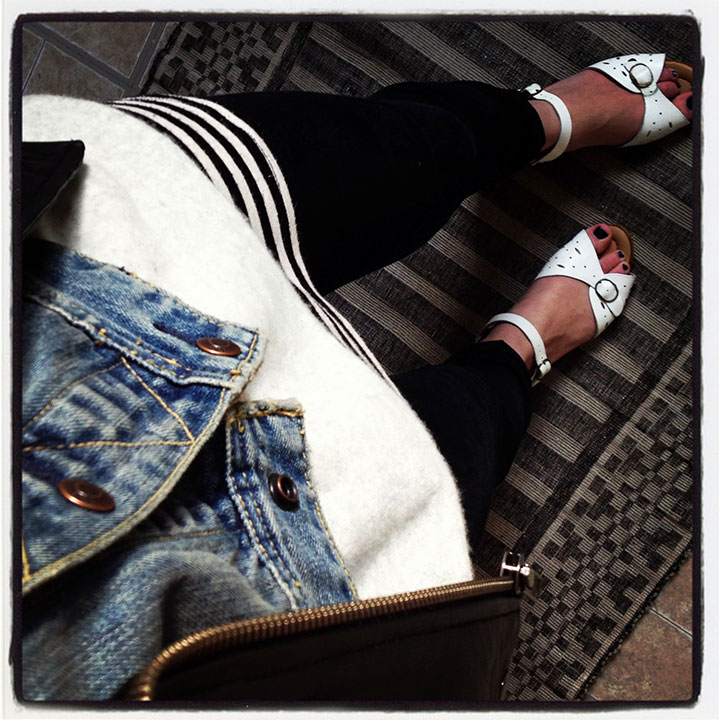 What-I-wore--DIY-Denim-Vest,-Vince-Sweater,-BDG-Black-SKinny-Jeans,-White-Vintage-Sandals-_-DeSmitten